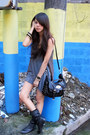 Black-leather-zara-boots-heather-gray-random-from-bangkok-dress