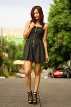 black waxed denim Levis dress