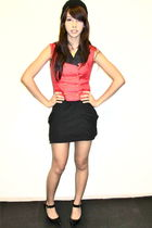 black cotton on - red vest - black Miley Cyrus x Max Azria skirt - black Charlot