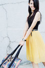 Black-tank-h-m-top-plaid-joyrich-x-lesportsac-bag-mustard-wagw-skirt