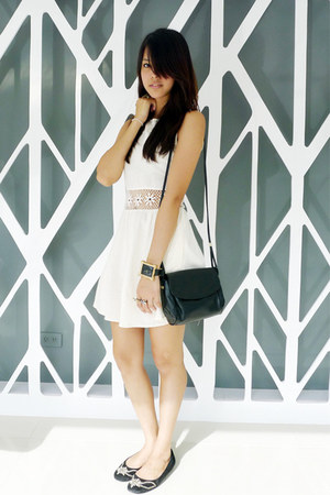 black Michael Kors flats - ivory Topshop dress - black vintage lanvin bag