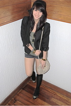 black - black blazer - green Topshop - black Zara shorts - black Michael Kors -