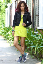 black studded leather Topshop jacket - chartreuse Desino Dulce dress