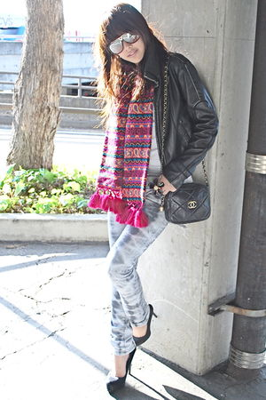 black jacket - pink From my grandmother scarf - white Topshop - gray - black Ald