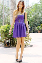 purple PacSun dress - black Forever 21 heels