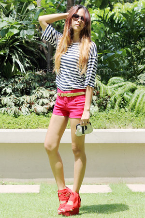 red Topshop wedges - red human shorts - black American Apparel sunglasses