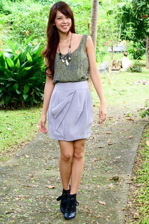 olive green Forever 21 top - heather gray Forever 21 skirt - black Forever 21 -