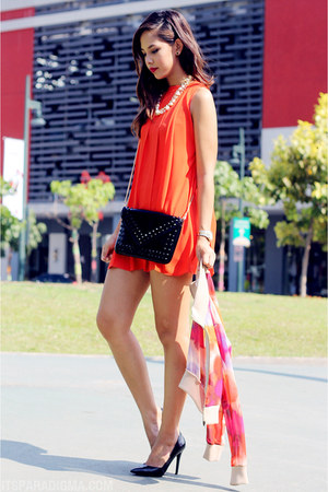 black Culte Femme bag - carrot orange Culte Femme dress