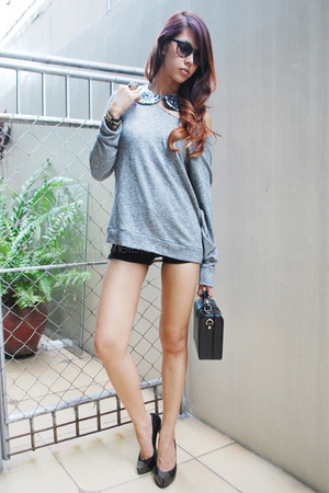 silver Zara sweater - black Toshop shorts - black studded Dolce Vita heels