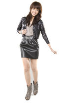 black sequined Mango jacket - black studded Glitterati skirt