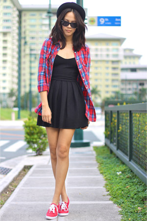 black Topshop dress - Topshop top - red Keds sneakers