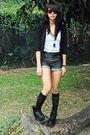 Black-cardigan-white-topshop-glitterati-black-black-doc-martens