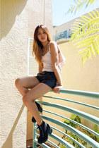 black H&M boots - light pink Trifecta top