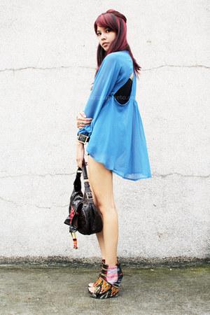 blue chiffon random from Bangkok blouse
