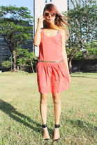 drop waist Mango dress - Mango sunglasses - Mango belt - Mango heels