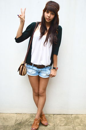 denim Forever 21 shorts - black cardigan - white from hong kong top