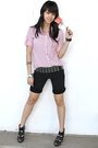 Black-topshop-shorts-black-topshop-zara-silver-random-silver-accessories