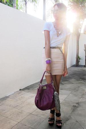magenta Marc by Marc Jacobs bag - light pink bandage Topshop skirt