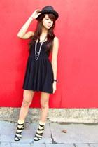 black skater Forever 21 dress - black strappy heels Forever 21