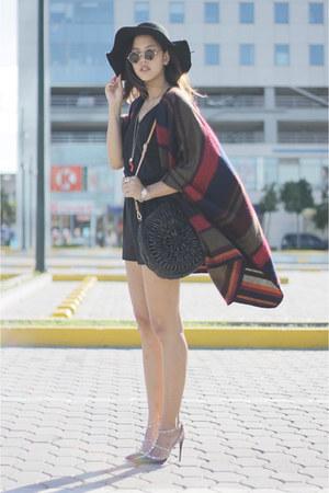 Topshop cape - black Mango romper - black rock stud Valentino heels