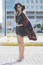 Topshop-cape-black-mango-romper-black-rock-stud-valentino-heels