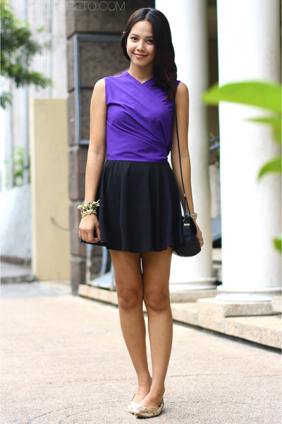 purple wrap around HarlanHolden top - black lanvin bag - black cotton on skirt