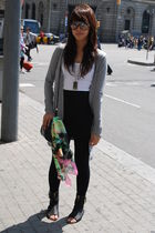 gray Topshop cardigan - white Zara - black Miley Cyrus x Max Azria skirt - black