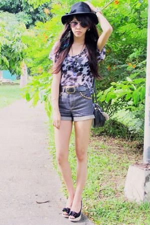 black Forever 21 hat - studded Glitterati shorts - black Call it Spring wedges -