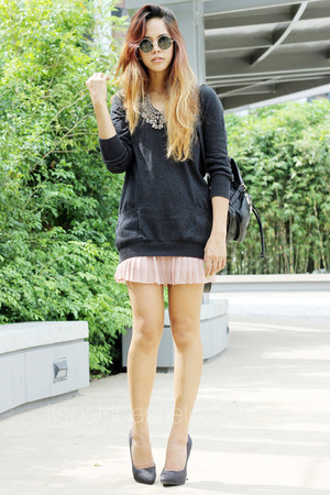 dark gray Topshop sweater - black Topshop bag