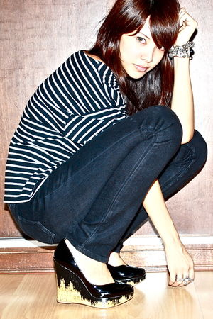 black striped Topshop top - black pull&bear - black BCBG - black H&M pants