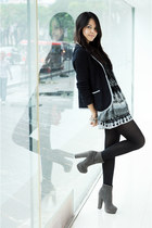 charcoal gray suede Forever 21 boots - black sports Mango blazer