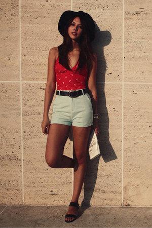light blue Stradivarius shorts - red Old Navy swimwear - black Topshop sandals