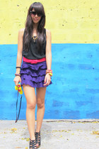 purple tired Topshop skirt