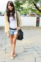 leather Topshop bag - denim Forever 21 shorts - leather belt Nine West