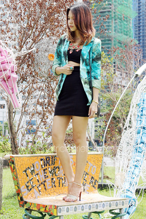 turquoise blue printed random from Hong Kong blazer