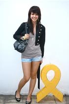 black Glitterati - beige Topshop - blue Forever 21 shorts - black Michael Kors -