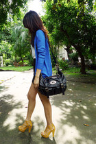 blue Forever 21 cardigan - black studded Parisian bag