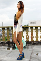 ombre Shortcuts shorts - blue Parisian wedges