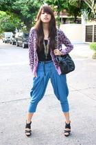 light purple leopard print Jellybean cardigan - black glam Glitterati shoes