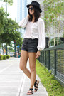 Black-leather-topshop-shorts-white-lace-topshop-top