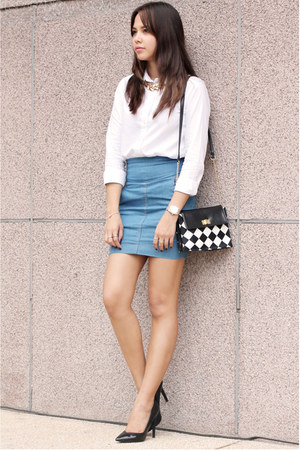 white button down Uniqlo top - Carlos Concecpcion for Viktor Jeans skirt