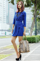 blue Mango dress - camel Fendi bag - black suede Topshop pumps