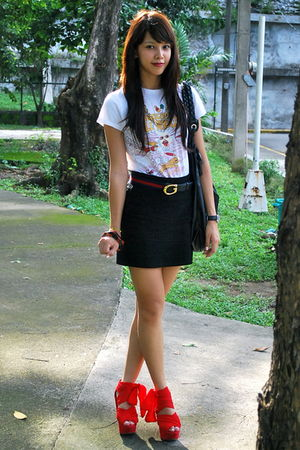 white Anthology shirt - Gucci - black H&amp;M skirt - red Topshop - black Forever 21