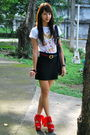 White-anthology-shirt-gucci-black-h-m-skirt-red-topshop-black-forever-21