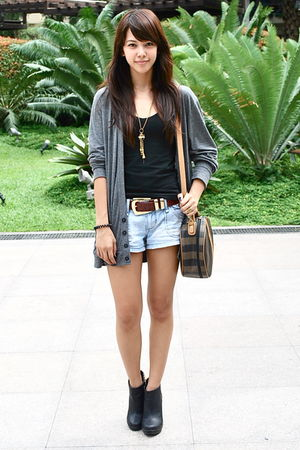 Urban Outfitters shorts - gray Topman cardigan - red belt - black Forever 21 top