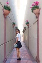white cropped Trifecta top - light blue Chloe bag - black Topshop skirt