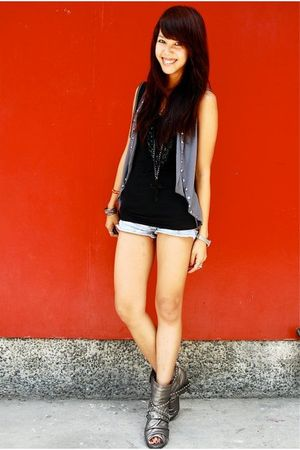 gray studded Randomly found in Hong Kong vest - denim Urban Outfitters shorts