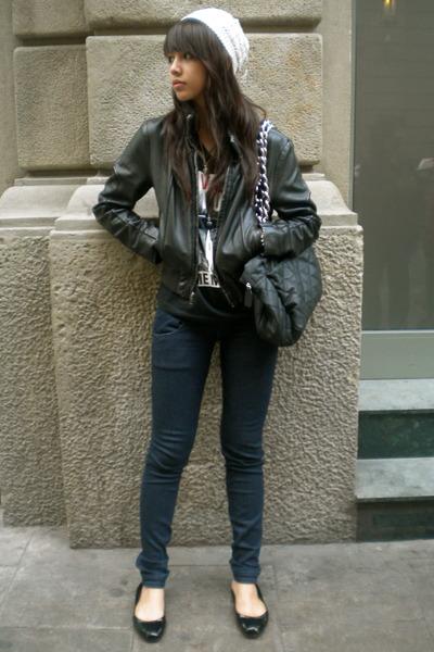 beige cotton on - black t-shirt - black jacket - Zara - black Steve Madden - bla