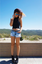 black H&M boots - dark green Givenchy bag - Zara shorts