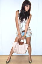 white Topshop - scarf - brown Gap belt - beige longchamp - Forever 21 - Salvator